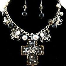 Western Chunky Bubble Layered Necklace with Boots on Cross Pendant with Earrings