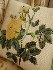 """14"""" Shabby Country Yellow Rose Bunch Hand Crafted Wool Needlepoint Pillow"""