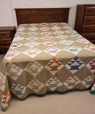 Vintage Antique Handmade Basket Pattern Quilt Large Feed Sack Fabrics