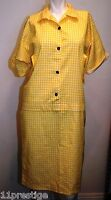 FRANCAIS SHIRT DRESS YELLOW -WHITE SHORT SLEEVE SIZE S PRE-OWNED