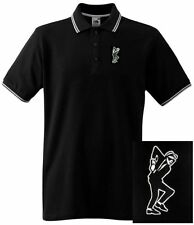 Ska Rude Boy Tipped Retro Polo Shirt with Embroidered Motif