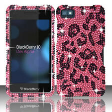 For BlackBerry Z10 Crystal Diamond BLING Hard Case Phone Cover Hot Pink Leopard