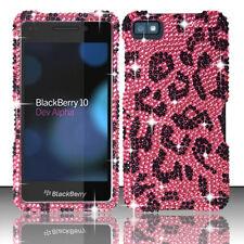 For BlackBerry Z10 Crystal Diamond BLING Hard Case Phone Cover Hot Pink Leopard