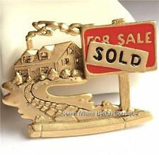 Gold Real Estate Pin Brooch House For Sale Sold Sign Plated Realtor Gift Box USA
