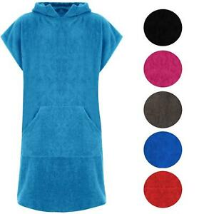 Adults Hooded 100% Cotton Changing Robe Towelling Poncho For Swimming Surf Beach