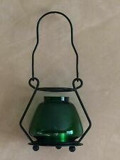 Decorative Green Art Glass Balloon Candle Holder Hanging Iron Wire Base