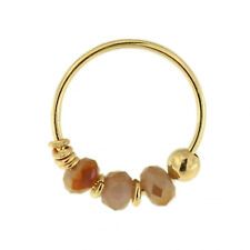 9K Carat Genuine Yellow Gold Light Topaz Colour Bead Nose Hoop Ring 8mm