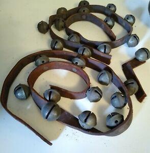 Antique Brass Sleigh Bells 25 Ornate Early Bells