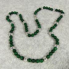 "Genuine Malachite Sterling Bead Necklace 6mm Round Grade A 20"" Length Silk Cord"