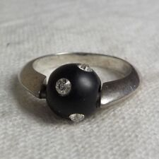 STERLING SILVER 925 SIGNED BLACK BALL & RHINESTONE SPINNING RING SZ 6 WT2.71 G