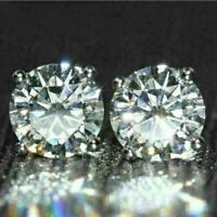 14K White Gold Over 2.00 Carat Round Gorgeous Moissanite Solitaire Stud Earrings