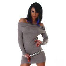 Sexy Kleid Carmen Minikleid Longpullover Pullover schulterfrei Braun 34 36 38
