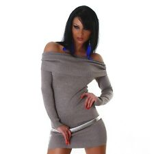 Robe sexy Carmen Mini-robe pull long pull bustier marron 34 36 38