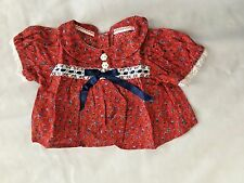 """Red Print w Lace 6.5X8"""" (laying flat) Shirt Doll Clothes"""