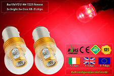 2x 25W Cree LED BAz15D 566 7225 P21/4W Red Rear Xenon Bulbs Tail Brake Light 12v
