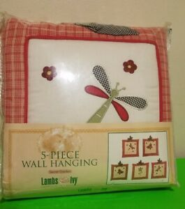 "New Lambs & Ivy Secret Garden Red & Beige 5 Pc Fabric Wall Hanging Set 11"" x 11"""