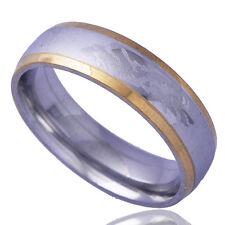 Fashion Men Zirconia Band Ring Dragon Pattern Yellow/White Gold Filled Size 11