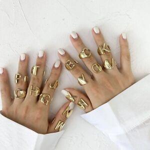 Adjustable Initial Alphabet Letter Name Ring Trendy A-Z Ring Gold Custom Rings