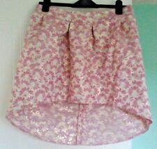 River Island Mini Skirt Metalic Floral Short Party High Low Fishtail Hem Size 12