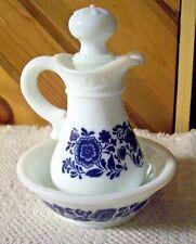 1970's Avon White & Delft Blue Pitcher & Bowl