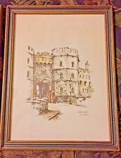 Windsor Castle Watercolor & Ink Set by Artist Jan Korthals Signed Litho 1973