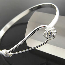 BANGLE CUFF BRACELET GENUINE REAL 925 STERLING SILVER S/F LADIES ROSE DESIGN