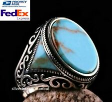 Solid Turquoise Stone Turkish Jewelry 925 Sterling Silver Mens Ring ALL SİZE 075