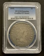 1800 Draped Bust Silver Dollar PCGS Genuine Graffiti-VF Detail, RARE COIN!