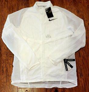 Men's Nike Run Reflective Running Jacket White Size Medium 922040-100