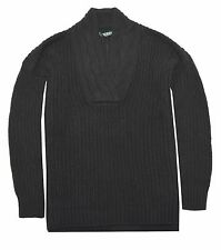 Ralph Lauren Womens Cotton Open Stitch Pullover Sweater (XX-Large, Black)