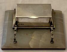Antique George V Art Deco taste silver desk inkstand and dip pen holder.