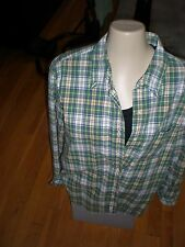 ABERCOMBIE AND FITCH MEN MAN  LONG SHIRT PLAID SIZE M ALL COTTON PRISTINE