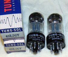 Nos Nib Matched Pair 6SL7GT Tung-sol Tubes Tall Bottle Tiny Plates VT-229 = 5691