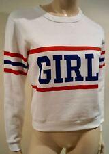 CLAUDIE PIERLOT femme en coton mélangé blanc jersey Sweater Pull Top T1 UK8 BNWT