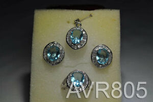 Cubic Zirconia Round Aqua Marine Stones Earring/Ring/Pendant Silver-Plated New