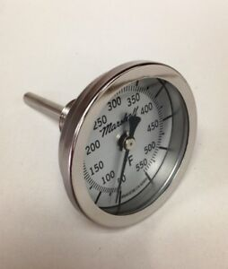 "Heavy Duty BBQ Thermometer, 50-550F, 2.5"" Dial, 2.5"" Stem, 1/2"" NPT CB"