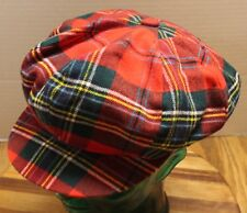 THE HOP SCOTCH SHOP RED PLAID DRIVERS CAB SIZE 57, MEDIUM, 7 1/8 VERY GOOD COND