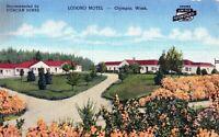 Vintage 1930s Lodoro Motel Olympia Washington WA Highway 99 Linen Postcard