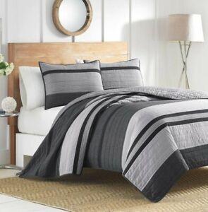 "Nautica Twin Quilt Gray Striped 68"" x 88"" Vessey ~ College Dorm"