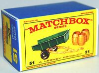 Matchbox Lesney No 51 Tipping Trailer Empty Box Repro style E