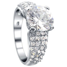 925 Sterling Silver Solitaire CZ Cubic Zirconia Rhodium Plated Ring Size 5 - 10