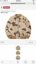 Supreme Desert Camo Leather MA-1 Jacket - Size Large SS17