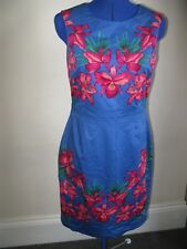 U OASIS UK 10 DRESS BRIGHT COLOURS BLUE PINK RED CASUAL EVENING SHAPED