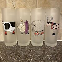 Dartington Designs Frosted Highball Glasses Animals Set of 4 Made In France
