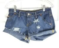 POLO RALPH LAUREN womens size 4 dark wash distressed cut off denim jean shorts