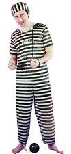 Adult Mens Criminal Convict Prisoner Costume Jailbird Polyester Fancy Outfit New