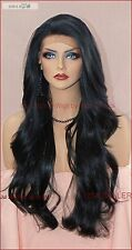 Lace Front Wig CLR 1B SOFT BLACK LONG FLOWING  WAVES SEXY FAST USA SELLER 178 A