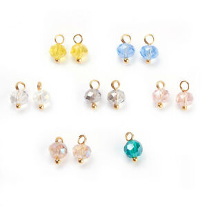 500 Random Electropalte Glass Bead Mini Charms Faceted Rondelle Gold Tone 9.5mm