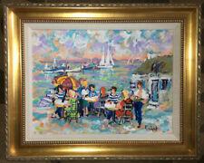 "Urbain Huchet Original Oil Painting ""Port Cafe'"" w/ Certificate of Authenticity"