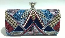 Blue/Multi-color Gypsy Pattern Beaded~ Crystals / Evening Purse Clutch Bag